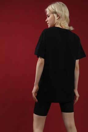 Grenj Fashion Siyah %100 Pamuk Bisiklet Yaka Boyfriend Örme Tshirt 3