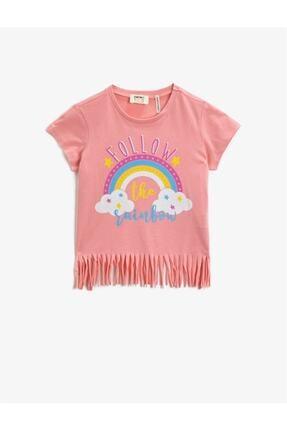 Koton Kız Çocuk Pembe Kısa Kollu Pamuklu T-Shirt 0