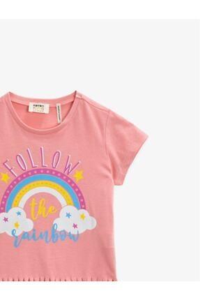 Koton Kız Çocuk Pembe Kısa Kollu Pamuklu T-Shirt 2