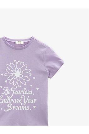 Koton Kız Çocuk Mor Yazılı Baskılı Kısa Kollu Bisiklet Yaka Pamuklu T-Shirt 2