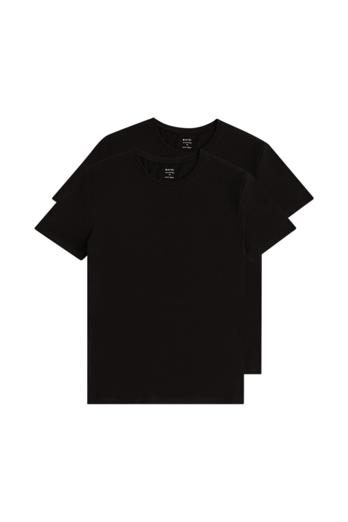 Erkek Siyah 2'li Bisiklet Yaka Düz T-shirt E001011