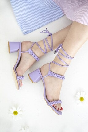 Straswans Kadın Lila Feling Topuklu Küt Burun Bilekten Bağlı Sandalet 1