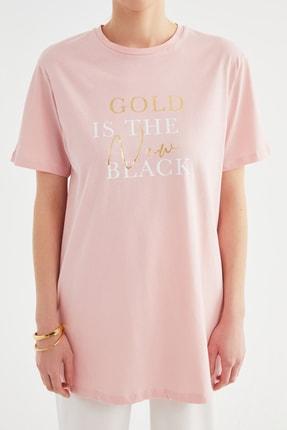 Trendyol Modest Pudra Baskılı Örme Tunik T-shirt TCTSS21TN0410 2