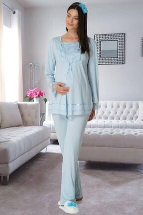 By Mecit Pijama Carpediem L.r. Mavi 1506 Hamile Lohusa Pijama Takımı 1