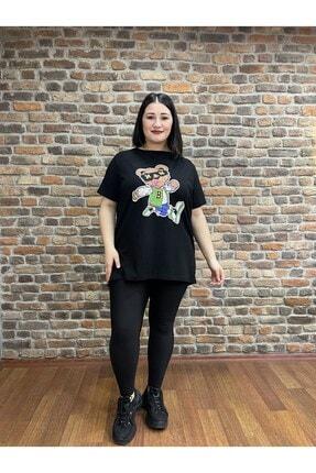 تصویر از Baskılı Ve Inci Çakımlı Büyük Beden T-shirt