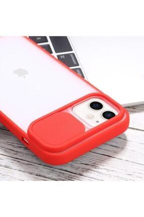 """Teknoçeri Iphone 11 6.1"""" Uyumlu Kamera Lens Korumalı Sürgülü Kırmızı Kılıf 2"""