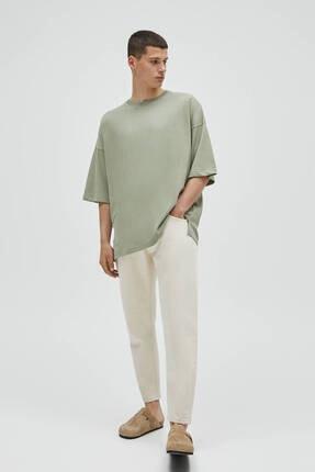 Pull & Bear Erkek Haki Basic Kısa Kollu Loose Fit T-shirt 2