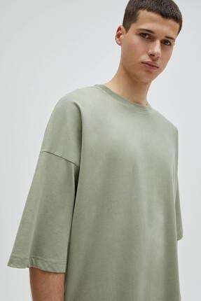 Pull & Bear Erkek Haki Basic Kısa Kollu Loose Fit T-shirt 4