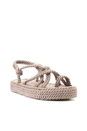 Bambi Vizon Kadın Hasır Sandalet K05787020476 3