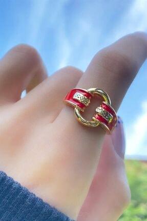 Takıştır Kadın Altın Renk Kırmızı Zincir Figürlü Ayarlanabilir Yüzük 1