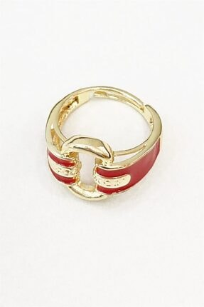 Takıştır Kadın Altın Renk Kırmızı Zincir Figürlü Ayarlanabilir Yüzük 2