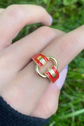 Takıştır Kadın Altın Renk Kırmızı Zincir Figürlü Ayarlanabilir Yüzük 4
