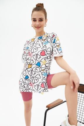 Pattaya Kadın Yırtmaçlı Oversize Kısa Kollu Tişört P21s201-2121 2