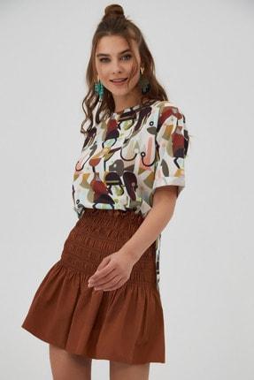 Pattaya Kadın Kahverengi Yırtmaçlı Oversize Kısa Kollu T-Shirt 2