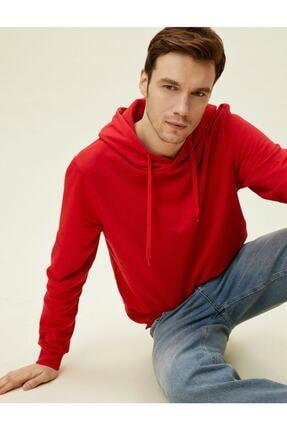 Koton Erkek Kırmızı Kapüşonlu Pamuklu Uzun Kollu Basic Sweatshirt 1yam71750lk 0