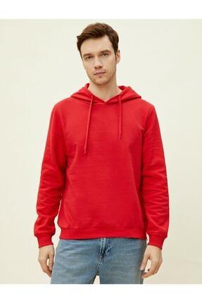 Koton Erkek Kırmızı Kapüşonlu Pamuklu Uzun Kollu Basic Sweatshirt 1yam71750lk 2