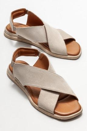 Elle Kadın Bej Deri Düz Sandalet 1