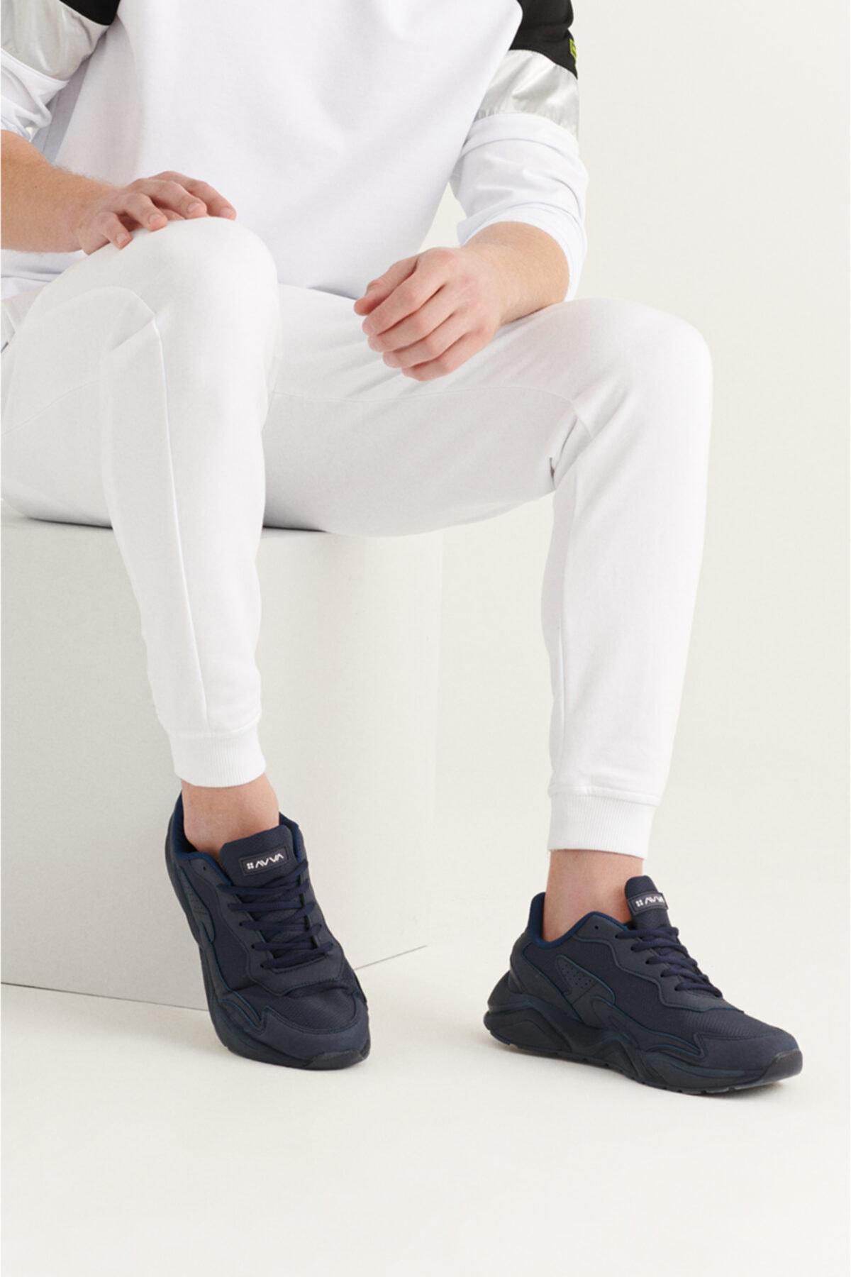 Erkek Lacivert Suni Deri Spor Ayakkabı A11y8024