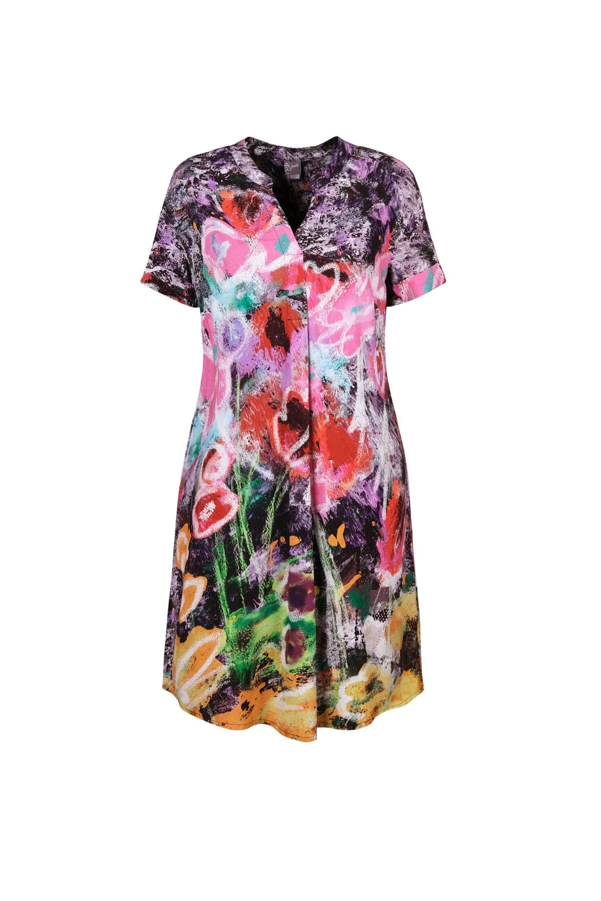Kadın Pileli V Yaka Baskılı Elbise