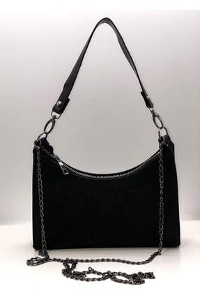 Rimense Kadın Siyah Baget Krom Görünümlü Zincirli Çanta 0