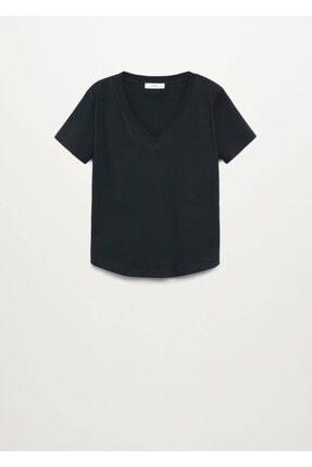 Mango Kadın Siyah V Yakalı Pamuklu Tişört 2