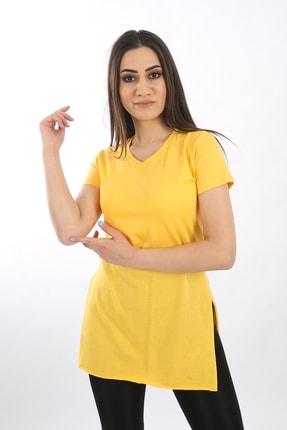SARAMODEX Kadın Sarı V Yaka Düz Renk Basic Tişört 3