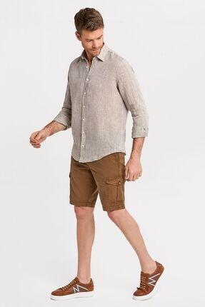 Hemington Erkek Bej Saf Keten Gömlek 1