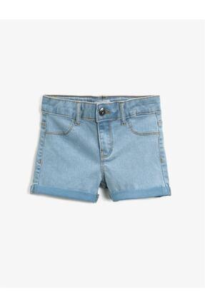 Koton Kız Çocuk Mavi Pamuklu Jean Şort 0