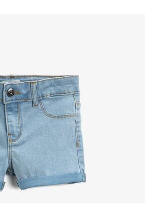 Koton Kız Çocuk Mavi Pamuklu Jean Şort 2