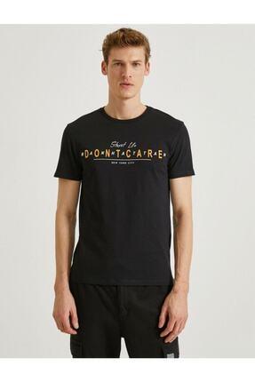 Koton Erkek Siyah Yazılı Kısa Kollu T-Shirt 2
