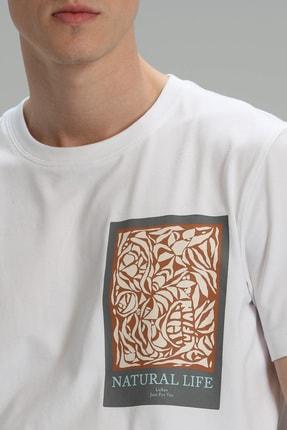 Lufian Mark Modern Grafik T- Shirt Beyaz 3