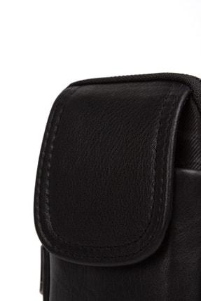 Leyl Unisex Siyah Hakiki Deri Cüzdan Bölmeli Telefon Çantası 4
