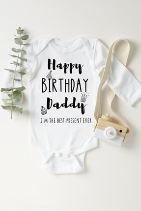 Happy Onesie Co Unisex Bebek Beyaz Doğum Günün Kutlu Olsun Babacığım Çıtçıtlı Body 0