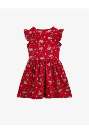 Koton Kız Çocuk Kırmızı Çiçekli Bisiklet Yaka Elbise 1