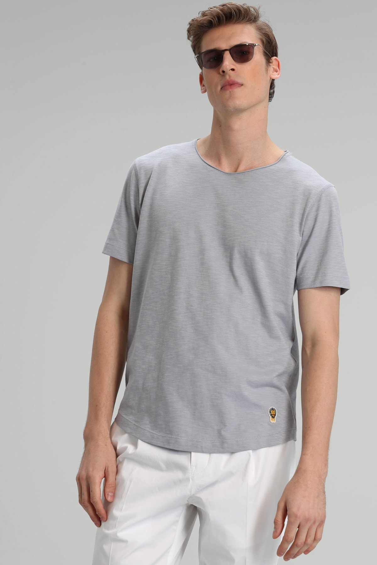 Junya Modern Grafik T- Shirt Açık Gri