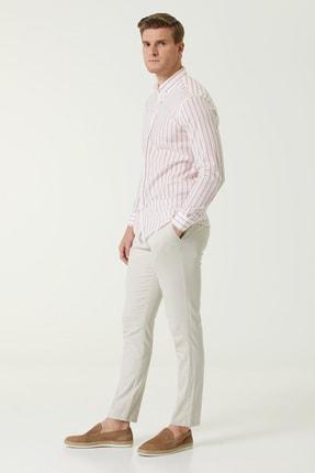 Network Erkek Slim Fit Beyaz Kırmızı Çizgi Desenli Gömlek 1078136 2