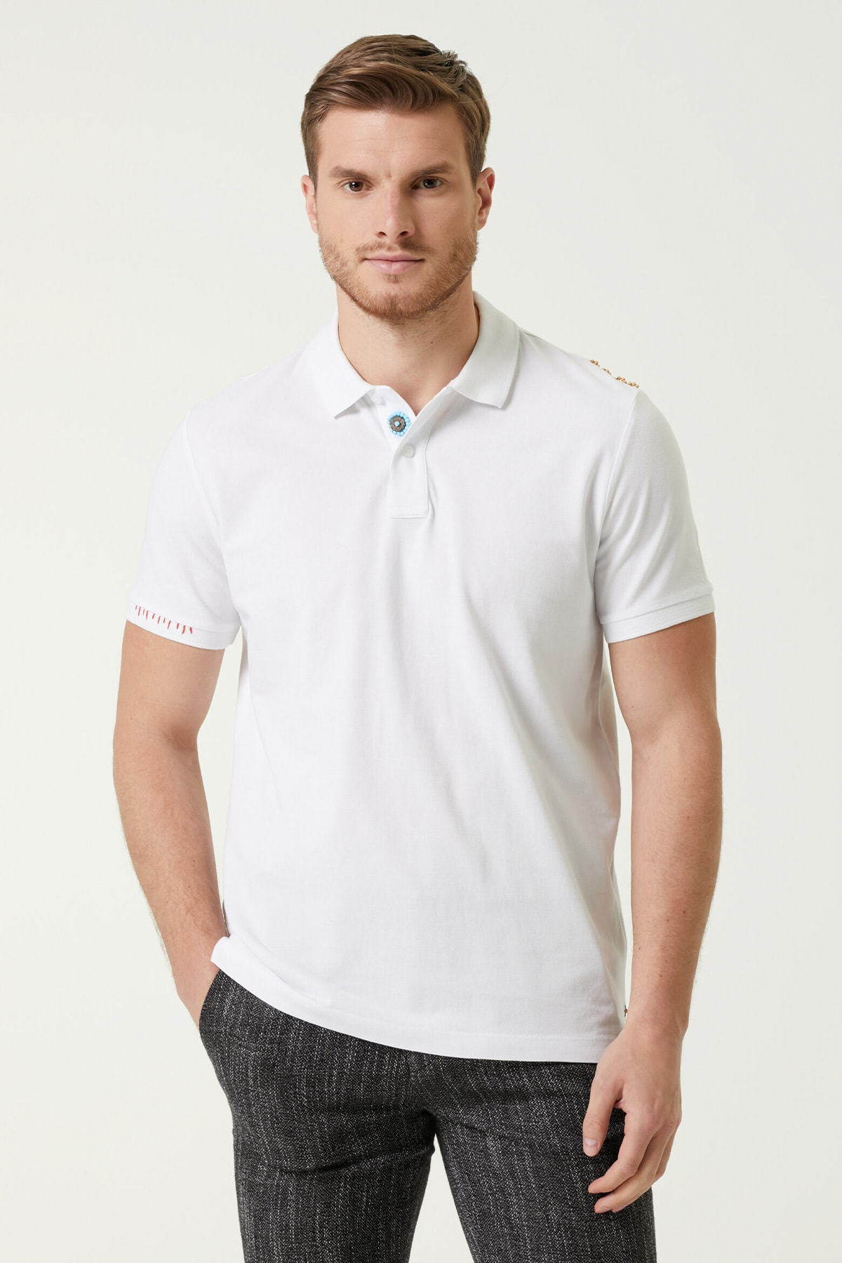 Erkek Comfort Fit Beyaz Polo Yaka T-shirt 1078122