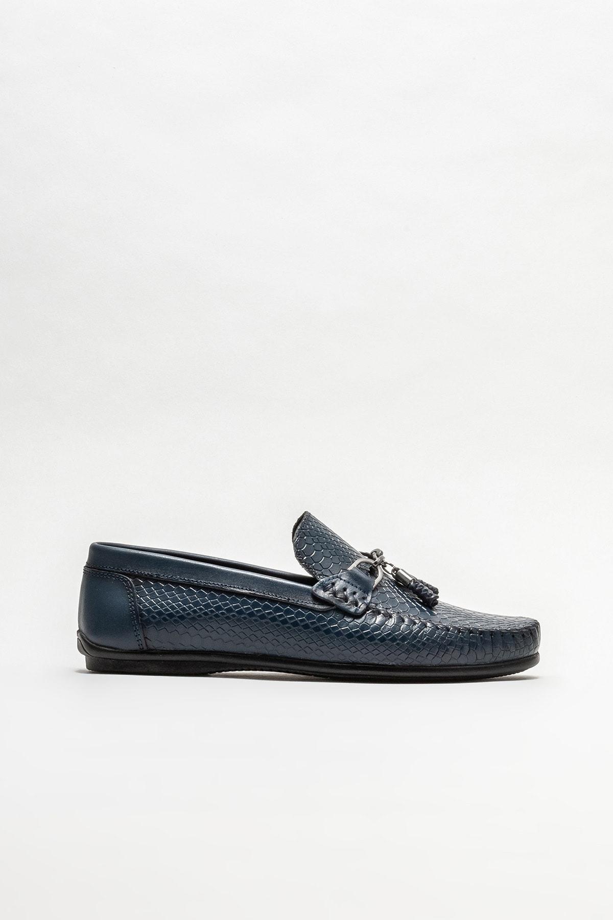 Erkek Lacivert Deri Günlük Loafer Ayakkabı