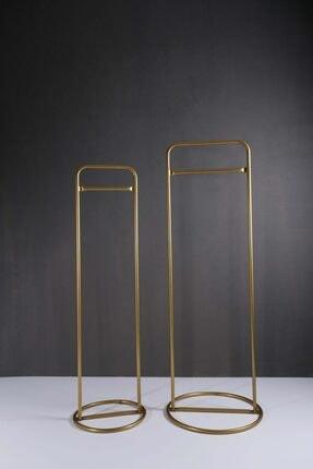 Fec Reklam Metal Ayaklı Konfeksiyon Askılığı Gold Elbise Askılık 2'li 1