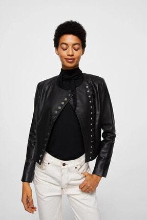 Picture of Kadın Siyah Düğmeli Deri Ceket