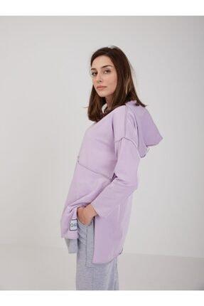 oia Kadın Lila Pamuklu Tunik Pantolon Takım W-0900 4