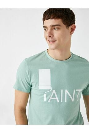 Koton Erkek Yeşil Yazı Baskılı Kısa Kollu Pamuklu T-Shirt 0