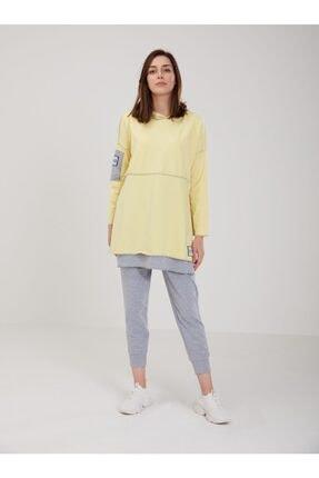 oia W-0900 Sarı Renk Pamuklu Tunik Pantolon Takım Eşofman Takım 1