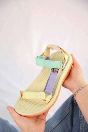 Ccway Kadın Su Yeşili Lila Bej Cırtlı Sandalet 4