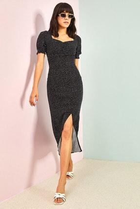 Bianco Lucci Kadın Siyah Desenli Önü Büzgülü Elbise 1