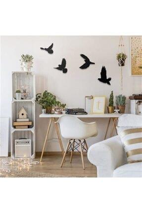 evdeucuz Dekoratif Modern Dörtlü Kuş Duvar Süsü Duvar Dekoru 3