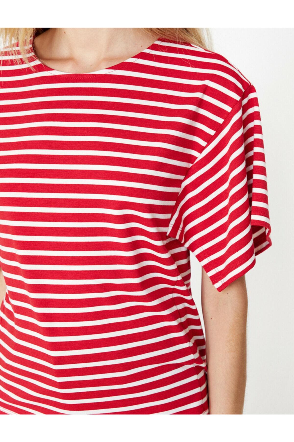 Koton Kadın  Kırmızı Çizgii T-Shirt 9KAK13520OK