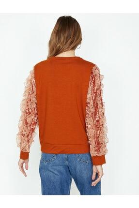 Koton Kadın Turuncu Dantel Detaylı Sweatshirt 3