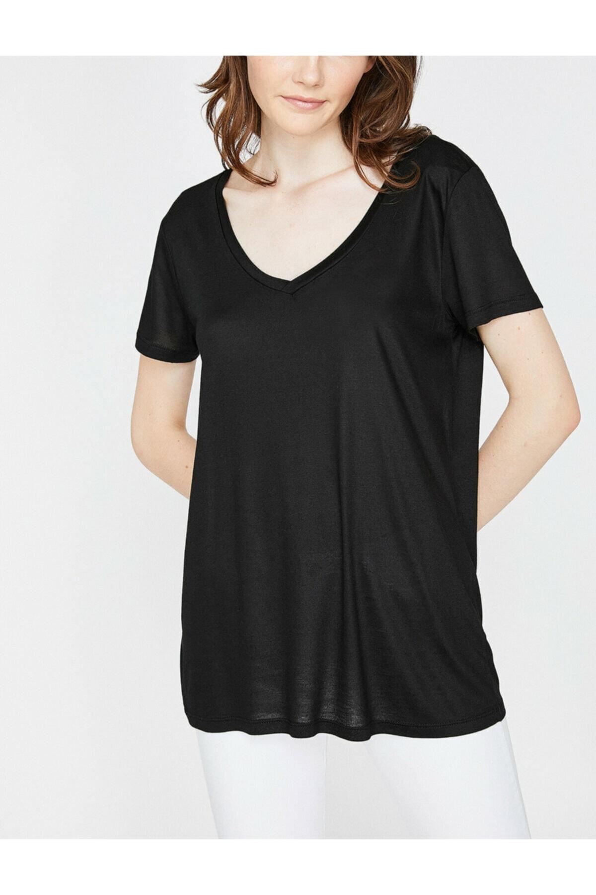 Koton Kadın Siyah V Yaka T-Shirt 9KAK13878OK