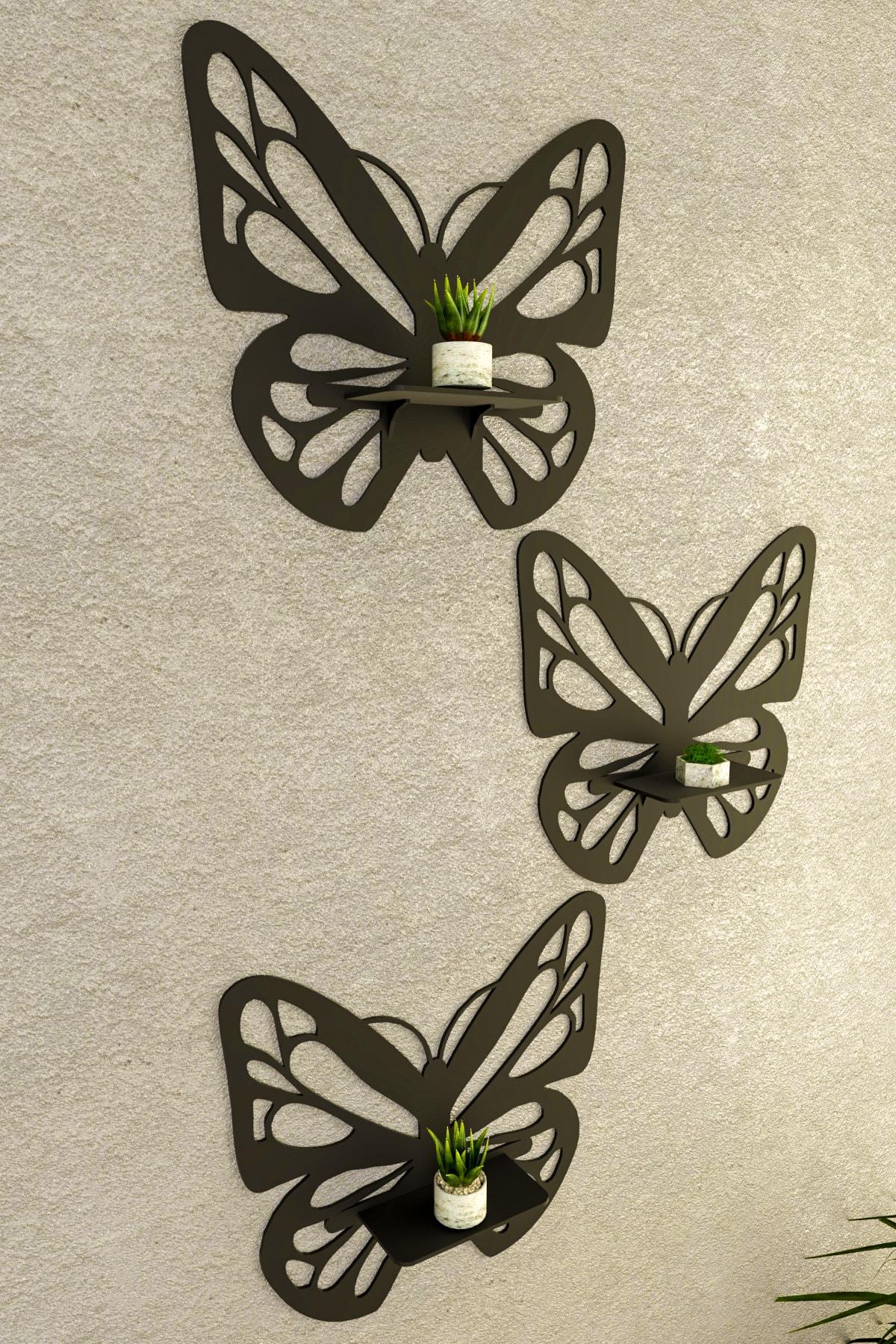 Ahşap 3'lü Kelebek Dekoratif Duvar Biblo Rafı Siyah